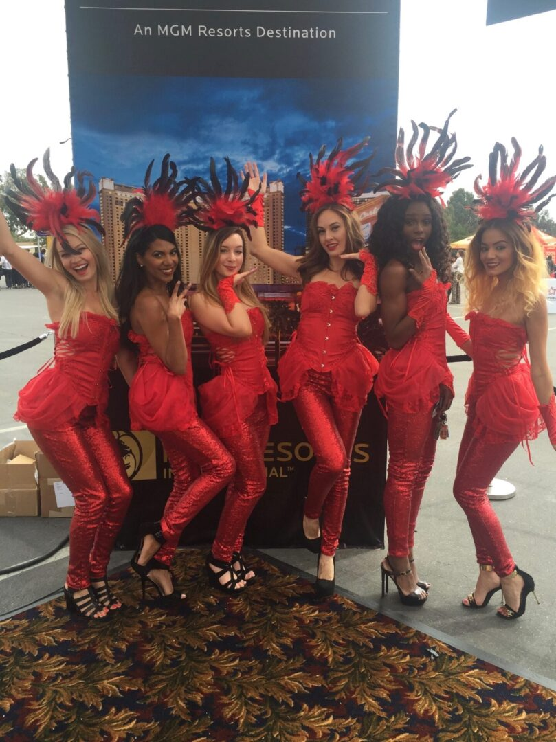 Women in red costumes